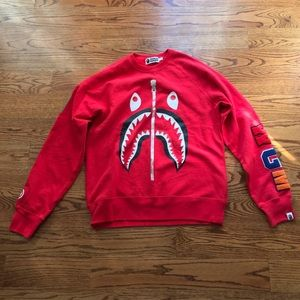 Authentic A Bathing Ape Red Tiger Shark Crew Neck